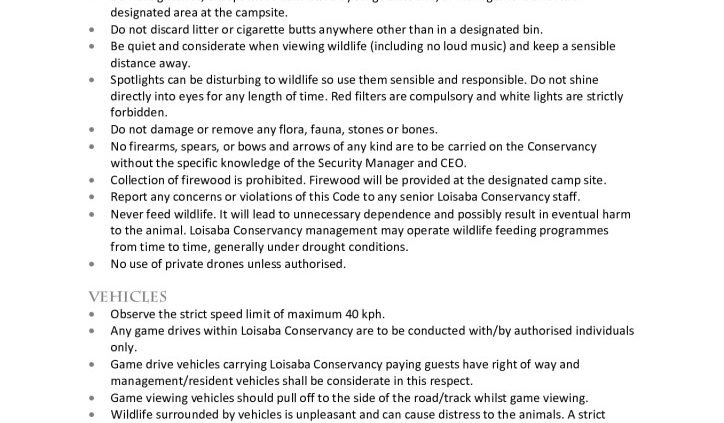 thumbnail of Loisaba Conservancy – Code of Conduct
